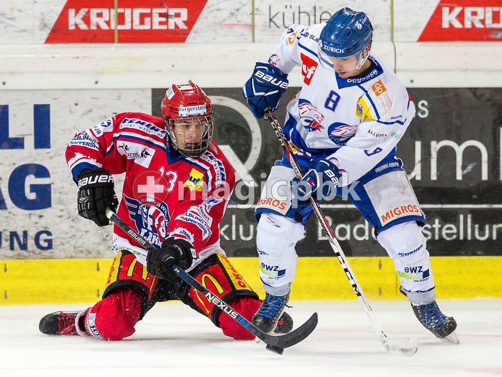 (L-R) Rapperswil-Jona Lakers forward Frantisek Rehak and ZSC Lions forward Nico Rueedi (Ruedi) fight for the puck during the fifth Elite B Playoff Final ice hockey game between Rapperswil-Jona Lakers and ZSC Lions held at the SGKB Arena in Rapperswil, Switzerland, Sunday, Mar. 19, 2017. (Photo by Patrick B. Kraemer / MAGICPBK)