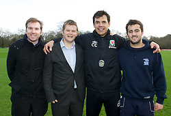 CARDIFF, WALES - Thursday, January 31, 2013: Wales' manager Chris Coleman with James Morris [r] (Sports Xtra Coach) and Alex Lock [l] (Sports Xtra Regional Director), Rob Oyston [2nd l] (Director of Sports Xtra) help launch Vauxhall's Fun Football programme with the Football Association of Wales and the Welsh Football Trust at the Vale of Glamorgan Hotel. For more information please contact Amy White on 07805 936211.  (Pic by David Rawcliffe/Propaganda)