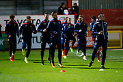 Stevenage warm up during the EFL Sky Bet League 2 match between Stevenage and Coventry City at the Lamex Stadium, Stevenage, England on 21 November 2017. Photo by Matt Bristow.
