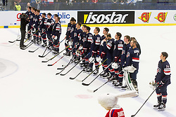 Players of USA listening to the national anthem after winning during Ice Hockey match between USA and Finland at Day 1 in Group B of 2015 IIHF World Championship, on May 1, 2015 in CEZ Arena, Ostrava, Czech Republic. Photo by Vid Ponikvar / Sportida