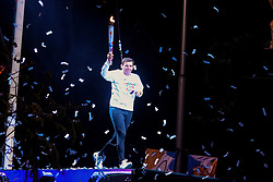 October 6, 2018 - Buenos Aires, Argentina - A man seen holding a torch during the inauguration of the 3rd Buenos Aires 2018 Summer Youth Olympic Games. (Credit Image: © Fernando Oduber/SOPA Images via ZUMA Wire)