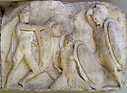 Large podium frieze.  Warriors in combat, either on foot or on horseback. Greek circa 4th-5th century BC