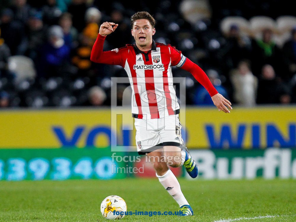 Harlee Dean of Brentford during the Sky Bet Championship match between Hull City and Brentford at KC Stadium, Hull<br /> Picture by Mark D Fuller/Focus Images Ltd +44 7774 216216<br /> 26/04/2016