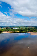 Aerial view of the Wisconsin River Valley near Spring Green, Wisconsin, USA.