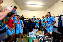 Worcester Warriors celebrate victory over Leicester Tigers in the changing room - Mandatory by-line: Robbie Stephenson/JMP - 23/09/2018 - RUGBY - Welford Road Stadium - Leicester, England - Leicester Tigers v Worcester Warriors - Gallagher Premiership