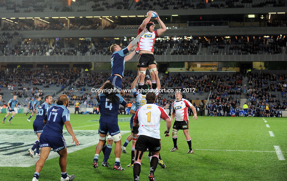 Lions lock Franco van der Merwe during the Super Rugby match between the Blues and Lions at Eden Park, Auckland, New Zealand on Friday 11 May 2012. Photo: Andrew Cornaga/Photosport.co.nz