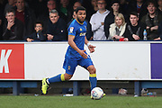 AFC Wimbledon striker Andy Barcham (17) dribbling down the wing during the EFL Sky Bet League 1 match between AFC Wimbledon and Scunthorpe United at the Cherry Red Records Stadium, Kingston, England on 7 April 2018. Picture by Matthew Redman.