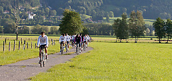 05.07.2011, Tauern SPA, Kaprun, AUT, Olympique Lyon, Training, im Bild beim Radfahren die Spieler von Olympique Lyon beginnen ihren Trainingstag mit einer Radtour um sieben Uhr morgens // Olympique Lyon's players begin their training day with a morning bike ride at seven clock during a training session on bikes of Olympique Lyon, in Kaprun, Austria on 2011/07/05, EXPA Pictures © 2011, PhotoCredit: EXPA/ J. Feichter