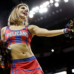 Dec 5, 2016; New Orleans, LA, USA; A member of the New Orleans Pelicans dance team performs during the second half of a game against the Memphis Grizzlies at the Smoothie King Center. The Grizzlies defeated the Pelicans 110-108 in double overtime.  Mandatory Credit: Derick E. Hingle-USA TODAY Sports