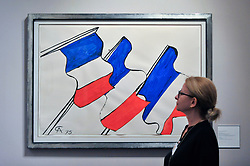 "© Licensed to London News Pictures. 28/06/2017. London, UK.  ""Untitled"", 1975, by Alexander Calder, gouache and ink representations of the French tricolor. Preview day at Masterpiece London, a leading art fair held in Chelsea, bringing together 150 international exhibitors presenting works from antiquity to the present day.  The event runs 29 June to 5 July 2017.   Photo credit : Stephen Chung/LNP"
