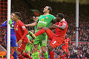 Sunderland defender John O'Shea defends the corner ahead of Liverpool defender Kolo Toure   during the Barclays Premier League match between Liverpool and Sunderland at Anfield, Liverpool, England on 6 February 2016. Photo by Simon Davies.