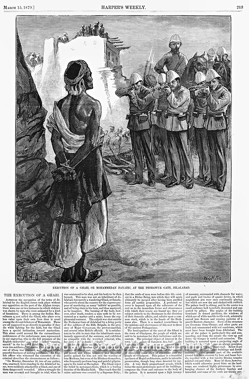 "British in Afghanistan 1879  Execution by firing squad of a ""Ghazi"" (Islamic extremist terrorist) Muslim prisoner. Harper's Weekly"