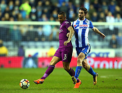 Danilo of Manchester City goes past Will Grigg of Wigan Athletic - Mandatory by-line: Robbie Stephenson/JMP - 19/02/2018 - FOOTBALL - DW Stadium - Wigan, England - Wigan Athletic v Manchester City - Emirates FA Cup fifth round proper