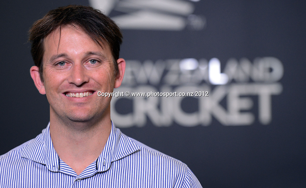 Former New Zealand Cricket pace bowler Shane Bond during a press conference announcing Bond as NZC's new bowling coach to the Black Caps ahead of their tour to Sri Lanka. Auckland, Friday 19 October 2012. Photo: Andrew Cornaga/Photosport.co.nz