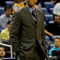 April 15, 2012; New Orleans, LA, USA; New Orleans Hornets head coach Monty Williams during the second quarter of a game against the Memphis Grizzlies at the New Orleans Arena.   Mandatory Credit: Derick E. Hingle-US PRESSWIRE