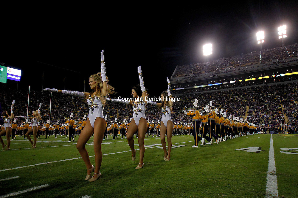 November 12, 2011; Baton Rouge, LA, USA; The LSU golden girls dance team and band perform prior to kickoff of a game against the Western Kentucky Hilltoppers at Tiger Stadium.  Mandatory Credit: Derick E. Hingle-US PRESSWIRE