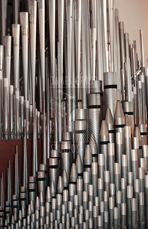 array of pipe organ pipes