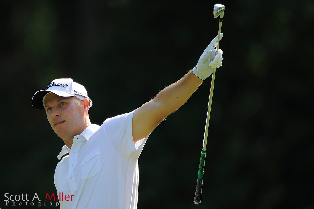 Ben Crane reacts to his tee shot on the eighth hole during the first round of the Players Championship at TPC Sawgrass on May 7, 2009 in Ponte Vedra Beach, Florida.     ©2009 Scott A. Miller
