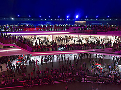 Many visitors to large Mercedes Benz hall at Frankfurt Motor Show or IAA 2011 Germany