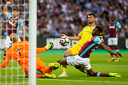 Antonio Mance of NK Domzale and Reece Oxford of West Ham during 2nd Leg football match between West Ham United FC and NK Domzale in 3rd Qualifying Round of UEFA Europa league 2016/17 Qualifications, on August 4, 2016 in London, England.  Photo by Ziga Zupan / Sportida