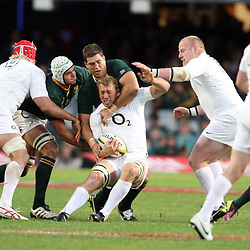 DURBAN, SOUTH AFRICA - JUNE 09, Willem Alberts tackle on Chris Robshaw (capt,) during the 1st Castle Lager Incoming Tour test match between South Africa and England from Mr Price Kings Park on June 09, 2012 in Durban, South Africa<br /> Photo by Steve Haag / Gallo Images