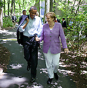 19.MAY.2012. MARYLAND<br /> <br /> PRESIDENT BARACK OBAMA TALKS WITH CHANCELLOR ANGELA MERKEL OF GERMANY AS THEY WALK FROM LAUREL CABIN TO ASPEN CABIN DURING THE G8 SUMMIT AT CAMP DAVID, MARYLAND.<br /> <br /> BYLINE: EDBIMAGEARCHIVE.CO.UK<br /> <br /> *THIS IMAGE IS STRICTLY FOR UK NEWSPAPERS AND MAGAZINES ONLY*<br /> *FOR WORLD WIDE SALES AND WEB USE PLEASE CONTACT EDBIMAGEARCHIVE - 0208 954 5968*