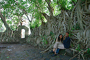 GONDAR, GONDAR/ETHIOPIA..Lovers under the fig trees at the bath of Emperor Fasilidas..(Photo by Heimo Aga)