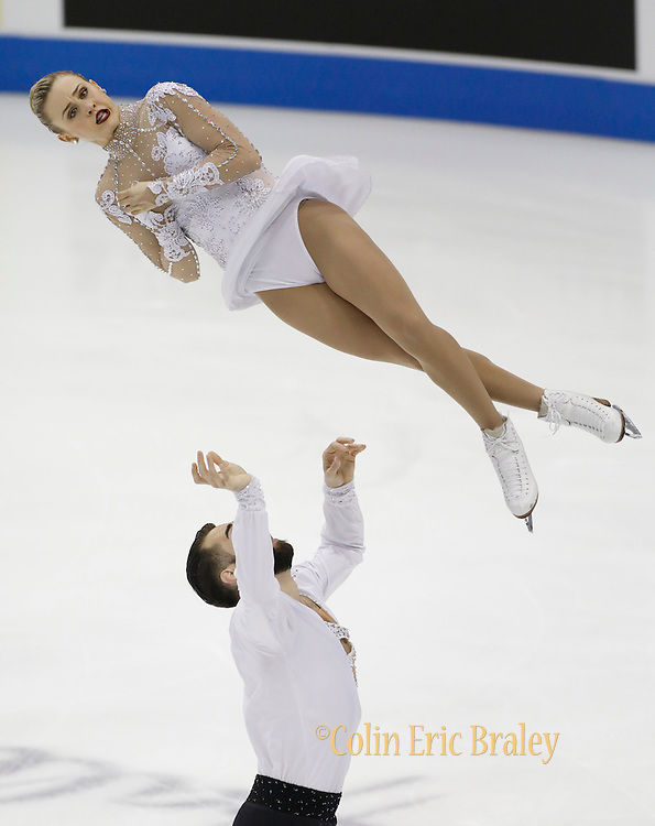 Ashley Cain and Timothy LuDuc perform during the championship pairs free skate competition at the U.S. Figure Skating Championships Saturday, Jan. 21, 2017, in Kansas City, Mo. (AP Photo/Colin E. Braley)