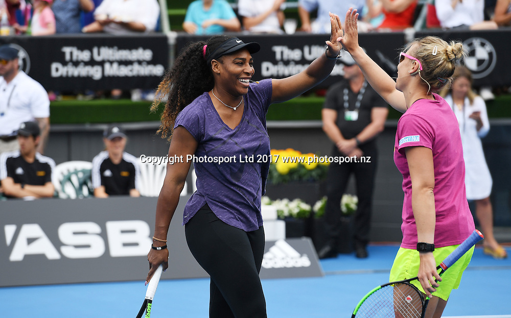 ASB Charity Match Up. Classic Day Out for the city of Kaikoura earthquake relief fund with Marina Erakovic and Serena Williams. ASB Classic WTA Womens Tournament. Auckland, New Zealand. Sunday 1 January 2017. © Copyright photo: Andrew Cornaga / www.photosport.nz
