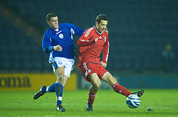 LEICESTER, ENGLAND - Tuesday, January 12, 2010: Liverpool's Krisztian Adorjan in action against Leicester City during the FA Youth Cup 4th Round match at the Walkers Stadium. (Photo by David Rawcliffe/Propaganda)