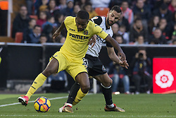 December 23, 2017 - Valencia, Spain - Bakambu, Martin Montoya during the match between Valencia CF against Villarreal CF , week 17 of  La Liga 2017/18 at Mestalla stadium, Valencia, SPAIN - 17th December of 2017. (Credit Image: © Jose Breton/NurPhoto via ZUMA Press)