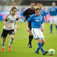 Rosenborg v St Johnstone....18.07.13  UEFA Europa League Qualifier.<br /> Paddy Cregg holds off Daniel Berntsen<br /> Picture by Graeme Hart.<br /> Copyright Perthshire Picture Agency<br /> Tel: 01738 623350  Mobile: 07990 594431