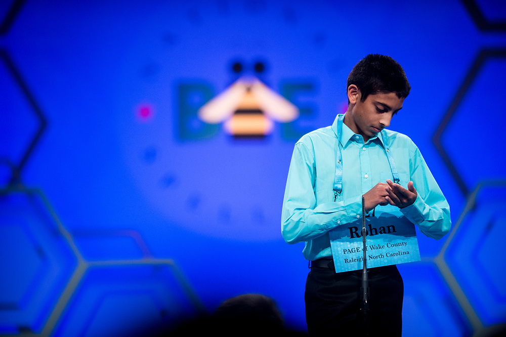 Rohan Sachdev, 14, from Cary, N.C., participates in the finals of the 2017 Scripps National Spelling Bee on Thursday, June 1, 2017 at the Gaylord National Resort and Convention Center at National Harbor in Oxon Hill, Md.      Photo by Pete Marovich/UPI