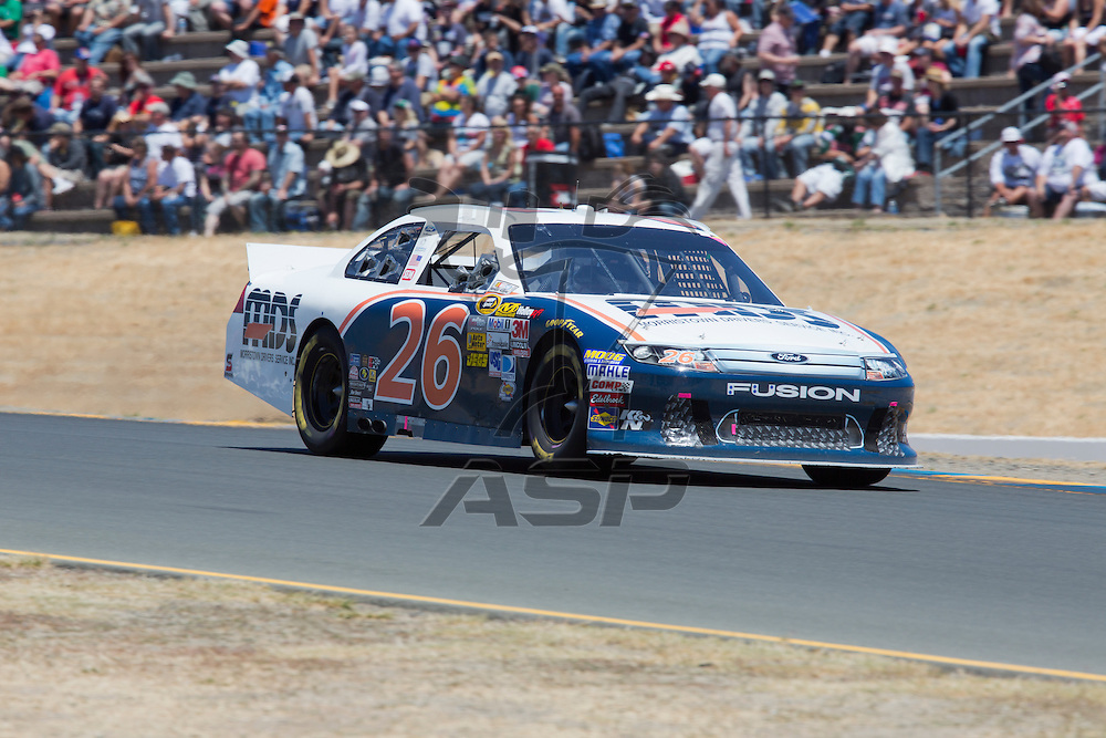 SONOMA, CA - JUN 24, 2012:  Josh Wise (26) brings his car through the turns during the Toyota Save Mart 350 at the Raceway at Sonoma in Sonoma, CA.