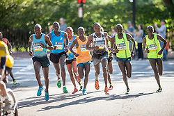 Boston Athletic Association 10K road race: lead pack of men, all Kenyan, in first mile led by Geoffrey Mutai