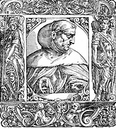 Albertus Magnus (c1200-1280) Italian Dominican friar called 'Doctor Universalis'. Bishop of Ratisbon, 1260. Melded theology and Aristotelianism. 16th century portrait woodcut.
