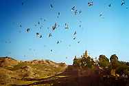 Birds fly above the cenotaph of Jaswant Thada in Jodhpur, Rajasthan, India. The monument was built in memory of Maharaja Jaswant Singh II, the former ruler of Jodhpur.