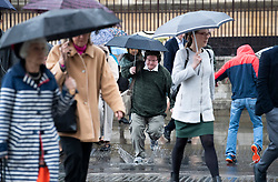 © Licensed to London News Pictures. 08/05/2019. London, UK. Visitors to Westminster in London receive a soaking as wet and windy weather hits the capital. Heavy rain is forecast for most of the UK this week. Photo credit: Ben Cawthra/LNP
