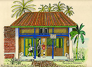 Drawing of Post Office on Galle Road by Barbara Sansoni,