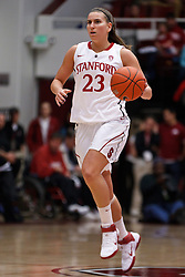 February 26, 2011; Stanford, CA, USA;  Stanford Cardinal guard Jeanette Pohlen (23) dribbles the ball up court against the Oregon Ducks during the first half at Maples Pavilion.  Stanford defeated Oregon 99-60.