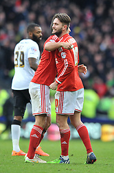 Nottingham Forest's Henri Lansbury celebrates with Nottingham Forest's Eric Lichaj at the end of the game as Nottingham Forest's Ben Osborn scores the winning goal - Photo mandatory by-line: Dougie Allward/JMP - Mobile: 07966 386802 - 17/01/2015 - SPORT - Football - Derby - iPro Stadium - Derby County v Nottingham Forest - Sky Bet Championship