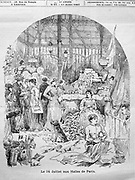 Illustration of the food market at Les Halles in Paris, France, on 14th July 1887, printed in a French publication. In front of the food stalls, a man sells hats and flags, and women make paper chain decorations and sew tricolore flags, in celebration of Bastille Day. Picture by Manuel Cohen
