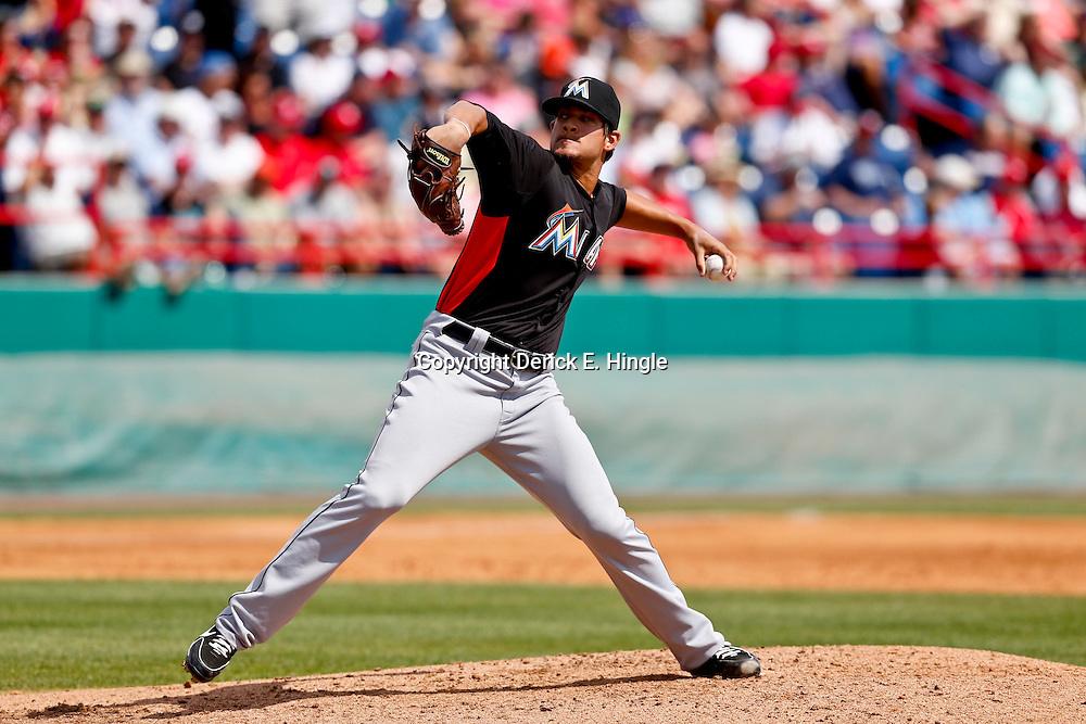 Mar 9, 2013; Melbourne, FL, USA; Miami Marlins starting pitcher Brad Hand (52) throws against the Washington Nationals during a spring training game at Space Coast Stadium. Mandatory Credit: Derick E. Hingle-USA TODAY Sports