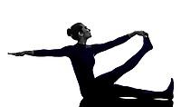 woman exercising Krounchasana heron pose yoga silhouette shadow white background