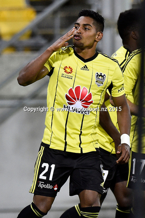 Roy Krishna of the Phoenix blows a kiss to the fans after a goal during the A-League - Wellington Phoenix v Brisbane Roar football match at Westpac Stadium in Wellington on Sunday the 24th of October 2015. Copyright Photo by Marty Melville / www.Photosport.nz