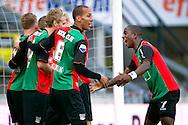 27-08-2011: Voetbal:NEC Nijmegen:Heracles Almelo:Niijmegen<br /> NEC's Leroy GEORGE viert het doelpunt van NEC's Lasse SCHÖNE met NEC's Ryan KOOLWIJK, NEC's Stef NIJLAND  en NEC's Melvin PLATJE <br /> Foto: Geert van Erven