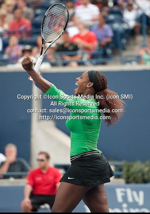 August 14 2011: Serena Williams of USA celebrates winning the 2011 Rogers Cup Final at the Rexall Centre in Toronto, Ontario Canada.<br /> Serena Williams of USA won 6-4,6-2.