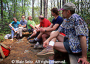 Outdoor recreation, Men Hikers Pause for Lunch, Day Hiking,
