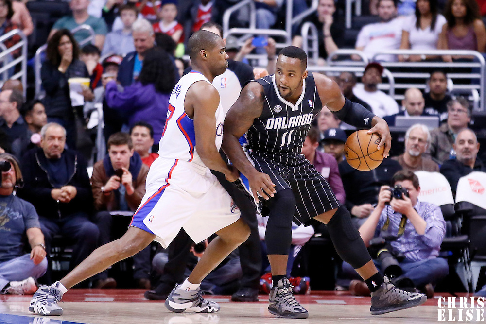 06 January 2014: Orlando Magic power forward Glen Davis (11) posts up Los Angeles Clippers power forward Antawn Jamison (33) during the Los Angeles Clippers 101-81 victory over the Orlando Magic at the Staples Center, Los Angeles, California, USA.