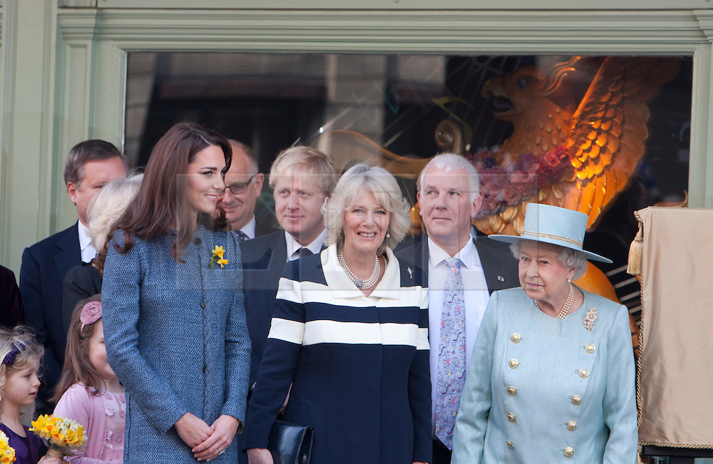 © Licensed to London News Pictures. 01/03/2012. London, U.K..The Queen, The Duchess of Cornwall and The Duchess of Cambridge attend the unveiling of the plaque outside Fortnum and Mason in Piccadilly to commemorate the restoration of Piccadilly. Mayor of London, Boris Johnson also attended..Photo credit : Rich Bowen/LNP